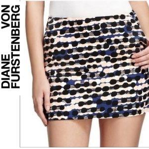 Diane Von Furstenberg Nelly Printed Tweed Mini Skirt Racing Peach